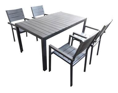 Set da pranzo x giardino da esterno in alluminio e polywood IVANA cm 150x90 con 6 Poltrone colore grigio chiaro antracite grigio