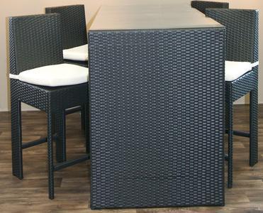 Bancone Bar da giardino con 4 Sgabelli MAURO Bancone Alto In Wicker Sintetico colore nero