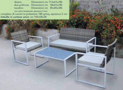 Salotto da esterno in polirattan e acciaio SINTESIS 2 poltrone 1 divano e tavolino