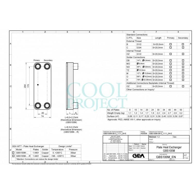Scambiatore di calore GBS 100M Kelvion (GEA) ex WP1 WTT