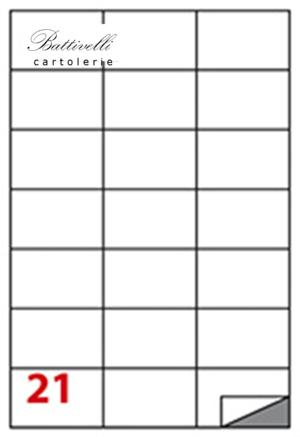 CONFEZIONE ETICHETTE IN A4 F.TO 70 x 42  100 FF - 21 PER FOGLIO