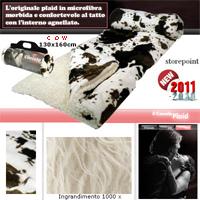 Coperta coccolo plaid agnellata maculata (cow)130 x 160